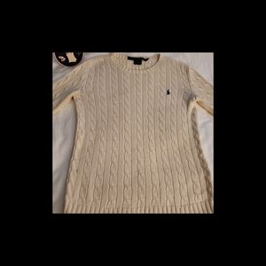 Polo Ralph Lauren Small Cable Knit Cream Sweater